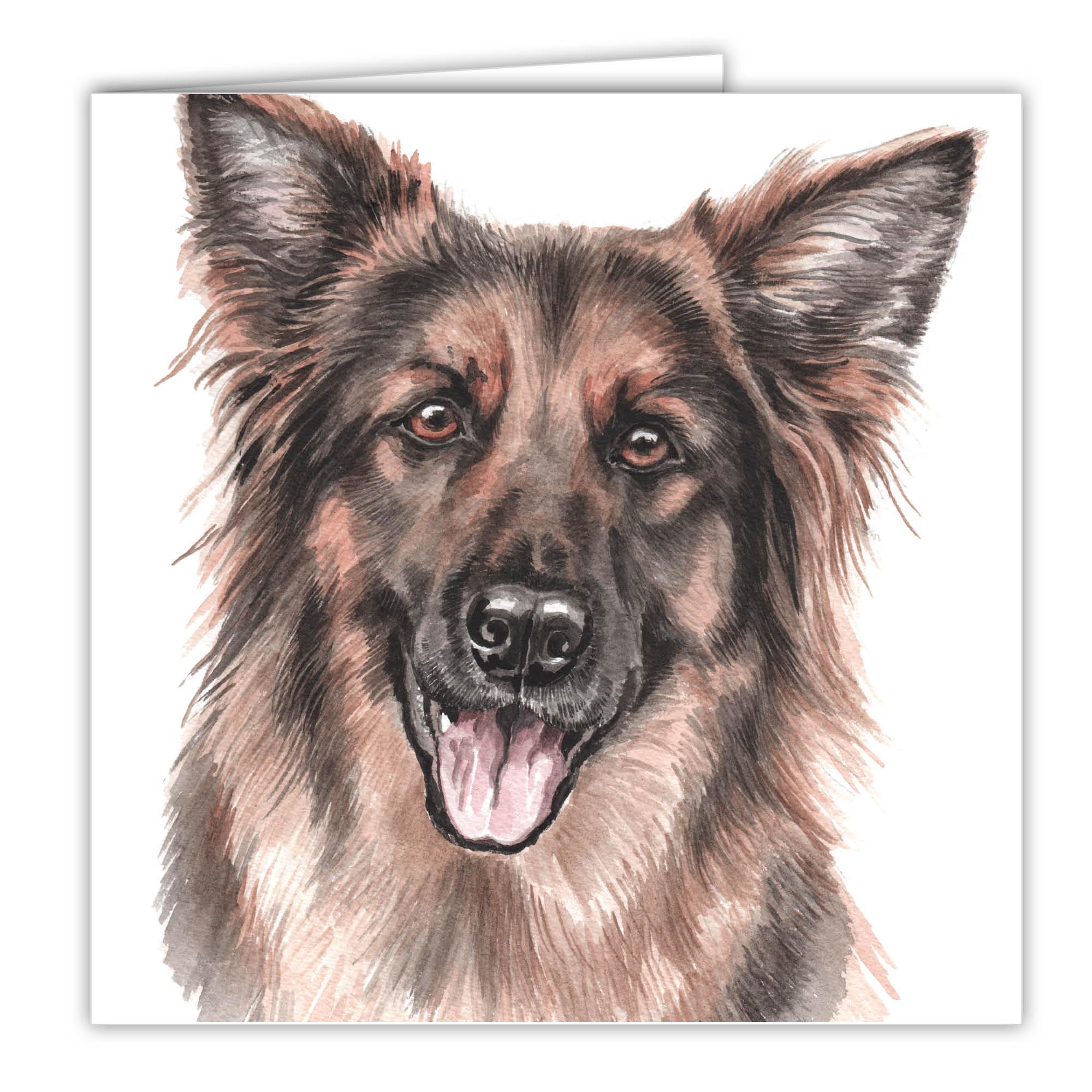 German Shepherd Art Card Greetings Card Ac 179 Waggydogz