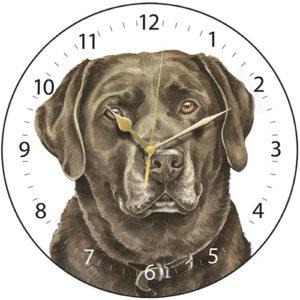 Chocolate Labrador Dog Clock