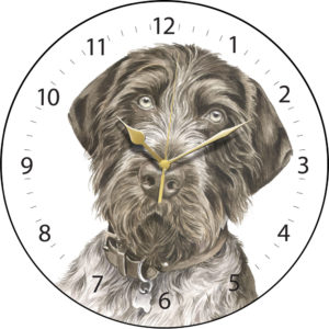 German Wire-haired Pointer Dog Clock