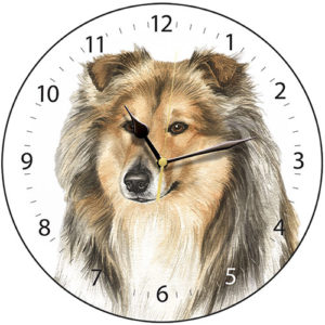 Rough Collie Dog Clock