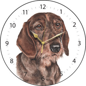 Wire Haired Dachshund Dog Clock