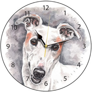 Greyhound - White Dog Clock