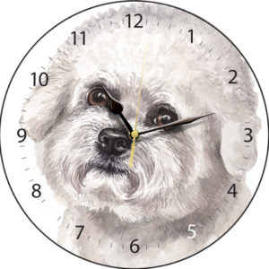 Bichon Frise Dog Clock