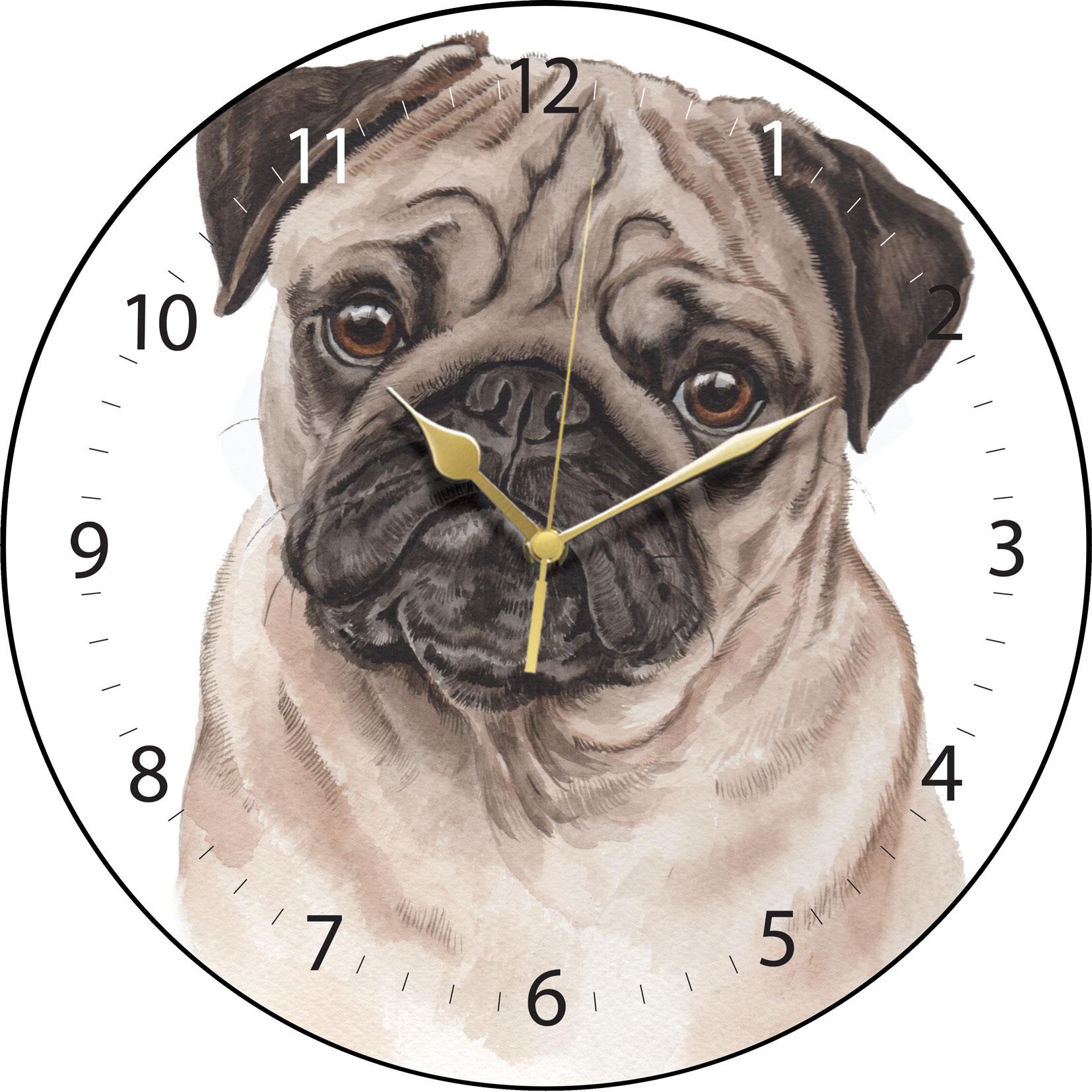 Pug Clock Clk 227 Waggydogz