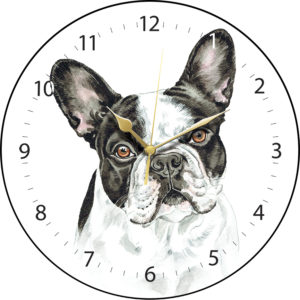 French Bulldog BW Dog Clock
