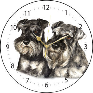 Miniature Schnauzer Pair Dog Clock
