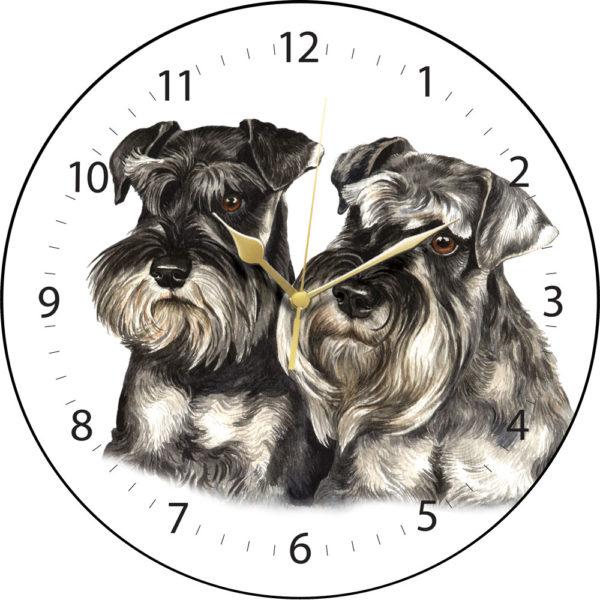 Miniature Schnauzer Pair Dog Clock