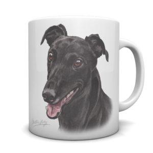 Greyhound (Black) Ceramic Mug by Waggydogz