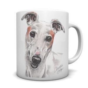 Greyhound (White) Ceramic Mug by Waggydogz