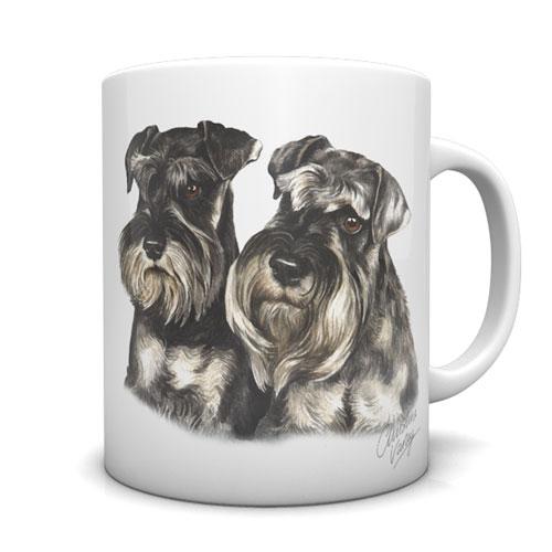 Miniature Schnauzers Pair Ceramic Mug by Waggydogz