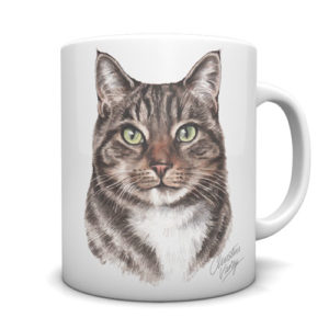 Tabby Cat Ceramic Mug by Waggydogz