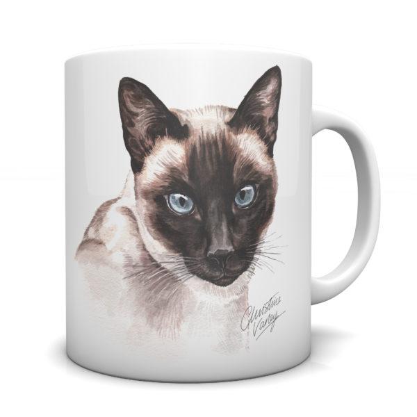 Siamese Cat Ceramic Mug by Waggydogz