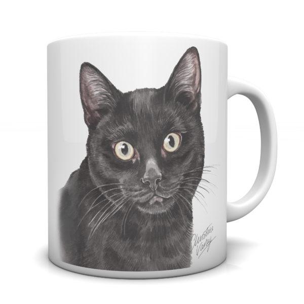 Black Cat Ceramic Mug by Waggydogz