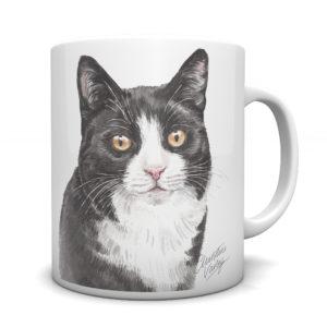 Black & White Cat Ceramic Mug by Waggydogz