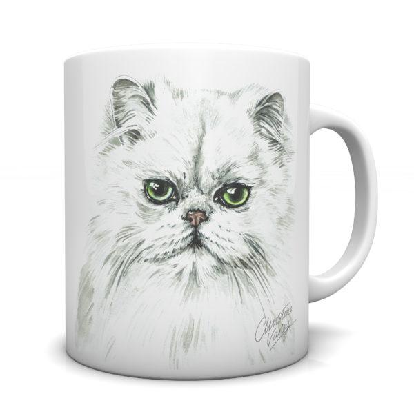 Persian Cat Ceramic Mug by Waggydogz