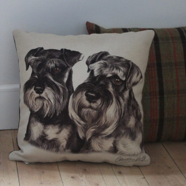 Miniature Schnauzer Pair Dog Cushion
