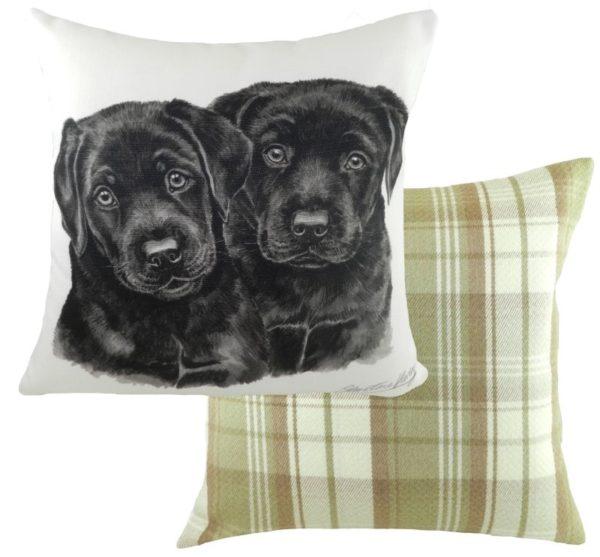 Black Labrador Puppies Cushion