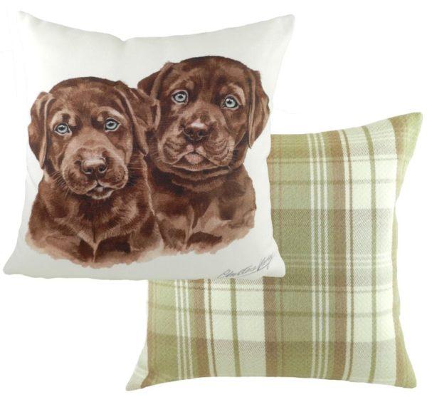 Chocolate Labrador Puppies Cushion