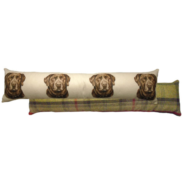 Draught Excluder featuring reproduction of a Chocolate Labrador from original watercolour painting by Christine Varley.