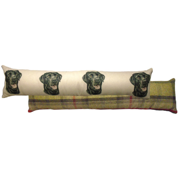 Draught Excluder featuring reproduction of a Black Labrador from original watercolour painting by Christine Varley.