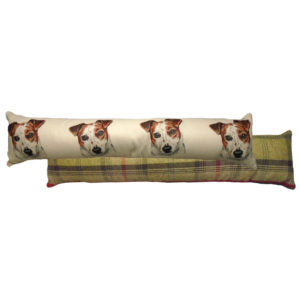 Draught Excluder featuring reproduction of a Jack Russell from original watercolour painting by Christine Varley.