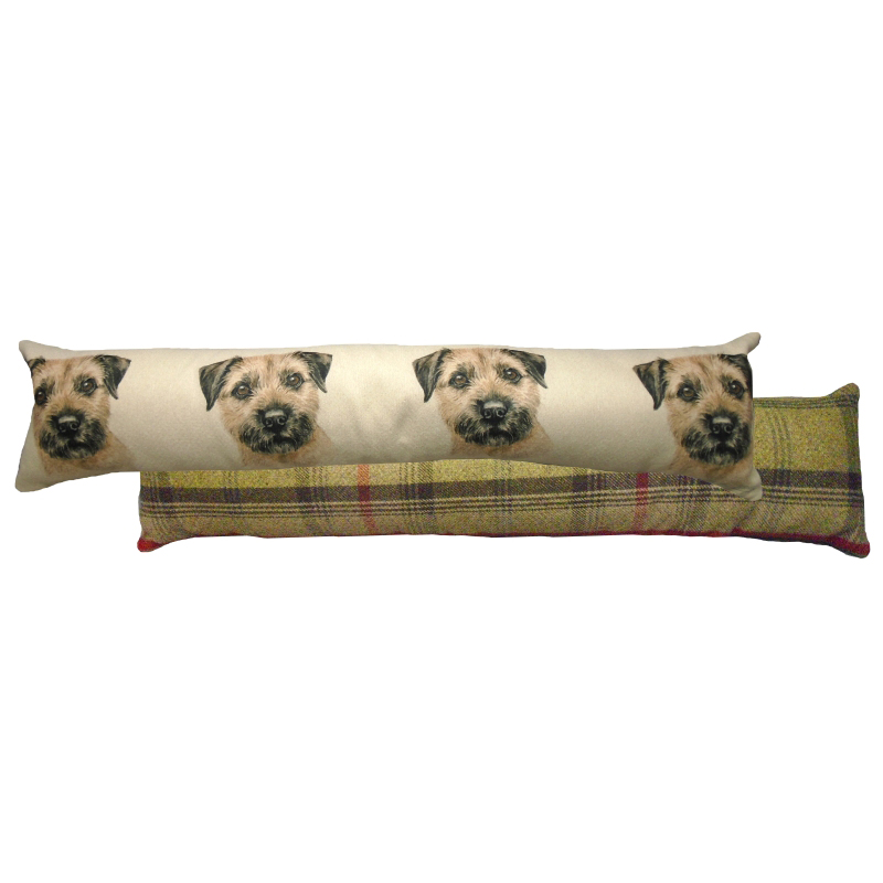 Draught Excluder featuring reproduction of a Border Terrier from original watercolour painting by Christine Varley.