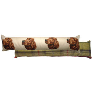 Draught Excluder featuring reproduction of an Irish Setter from original watercolour painting by Christine Varley.