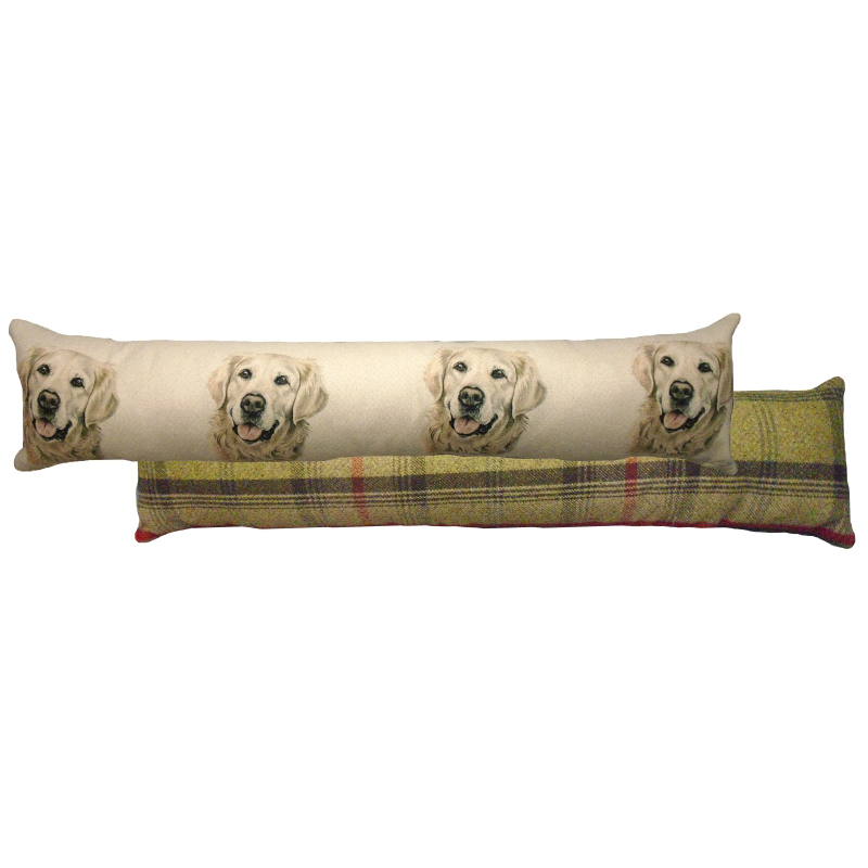 Draught Excluder featuring reproduction of a Golden Retriever from original watercolour painting by Christine Varley.