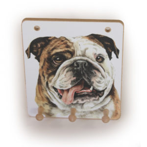 British Bulldog Dog peg hook hanging key storage board