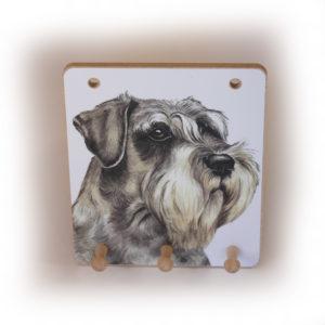 Schnauzer Dog peg hook hanging key storage board