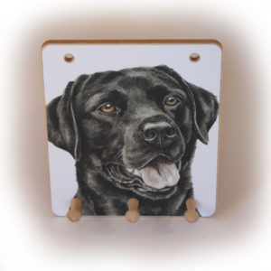 Black Labrador Dog peg hook hanging key storage board