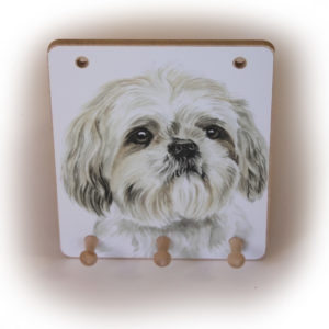 Shih Tzu Dog peg hook hanging key storage board