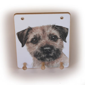 Border Terrier Dog peg hook hanging key storage board