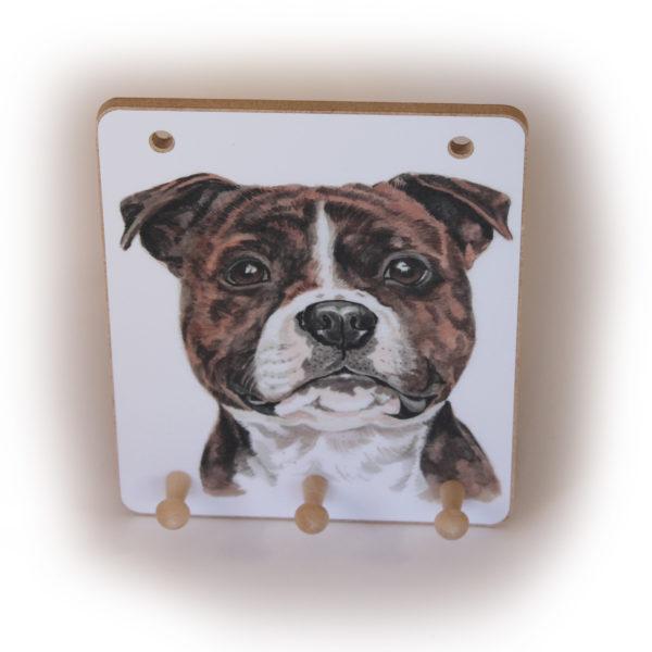 Staffordshire Bull Terrier Dog peg hook hanging key storage board