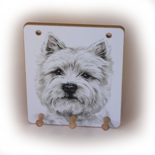 West Highland Terrier Dog peg hook hanging key storage board