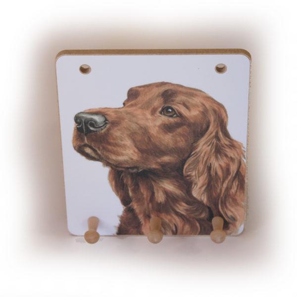 Irish Setter Dog peg hook hanging key storage board