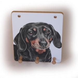 Dachshund Dog peg hook hanging key storage board