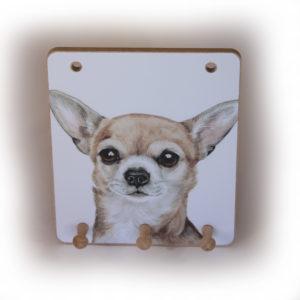 Chihuahua Dog peg hook hanging key storage board