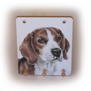 Beagle Dog peg hook hanging key storage board