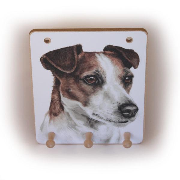 Jack Russell Dog peg hook hanging key storage board