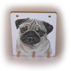 Pug Dog peg hook hanging key storage board