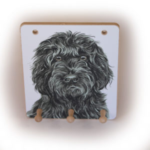 Black Cockapoo Dog peg hook hanging key storage board