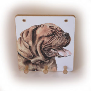 Dogue de Bordeaux Dog peg hook hanging key storage board