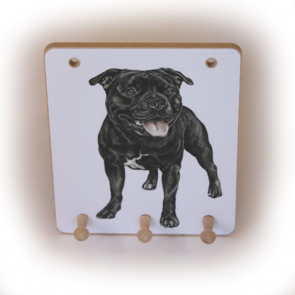 Staffordshire Bull Terrier Dog peg hook hanging key storage board