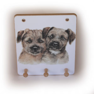 Border Terrier Puppies peg hook hanging key storage board